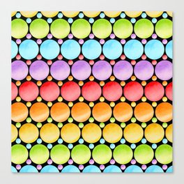Rainbow Dotty Stripes Canvas Print