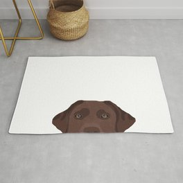 Peeking chocolate labrador dog breed cute dog face labrador retrievers Rug