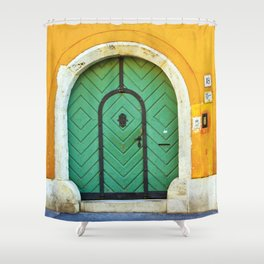Green Door on Yellow Wall in Budapest Photo Shower Curtain