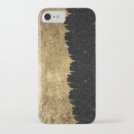 Faux Gold and Black Starry Night Brushstrokes iPhone Case