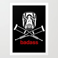 video game Art Prints featuring Badass - The Video Game by adho1982