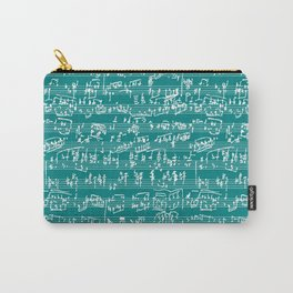Hand Written Sheet Music // Teal Carry-All Pouch