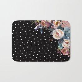 Boho Flowers and Polka Dots on Black Bath Mat