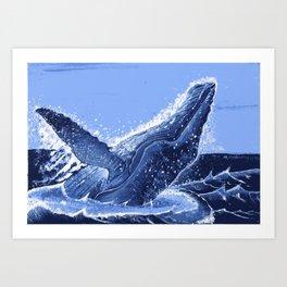 Hump Back Whale Breaching Art Print
