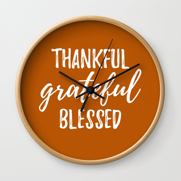 Thankful Grateful Blessed - Orange and White Script Wall Clock