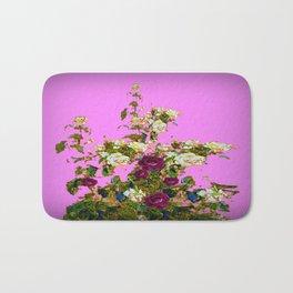 lilac PURPLE whiteb ROSESpurple ROES garden Bath Mat