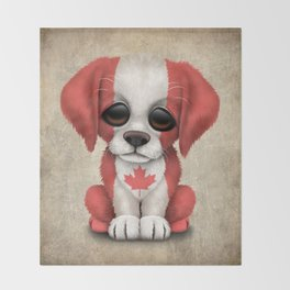 Cute Puppy Dog with flag of Canada Throw Blanket