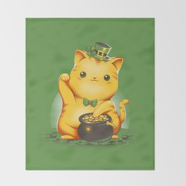 Irish Lucky Cat Throw Blanket