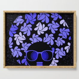 Afro Diva : Indigo Blue Periwinkle Serving Tray