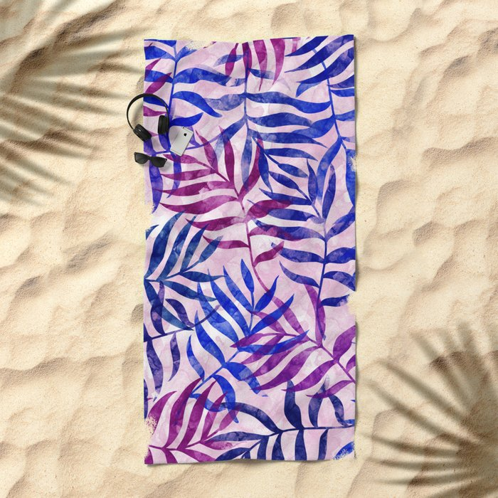 Watercolor Tropical Palm Leaves II Beach Towel