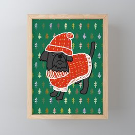 Cute dog in a Christmas tree sweater and matching hat Framed Mini Art Print
