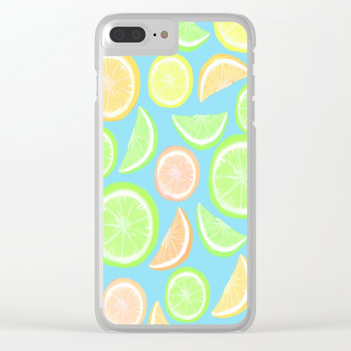 Mixed Citrus - blue Clear iPhone Case