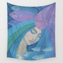 Pearl, Mermaid Fish, Water Spirit, Surreal Fantasy Wall Tapestry