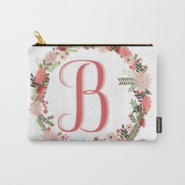 Personal monogram letter 'B' flower wreath Carry-All Pouch