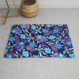 Stylish navy blue teal lavender pink floral pattern Rug