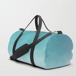 Modern blue greenery watercolor ombre wash Duffle Bag