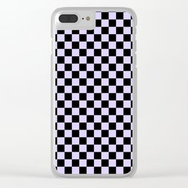 Black and Pale Lavender Violet Checkerboard Clear iPhone Case