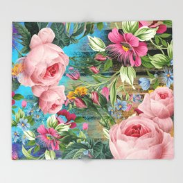 Vintage Flowers #9 Throw Blanket