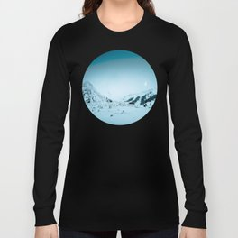 Mid Century Modern Round Circle Photo Snow Covered Winter Mountain Valley Long Sleeve T-shirt
