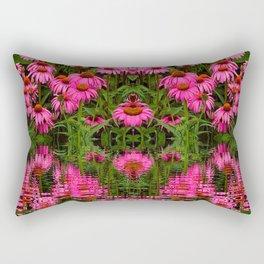 FUCHSIA-PINK ECHINACEA WATER GARDEN Rectangular Pillow