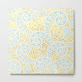 petal paisley, in celadon + gold Metal Print