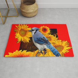 RED SUNFLOWERS  & BLUE JAY ART Rug
