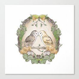 Watercolor Barn Owls in a Forest Plants and Fungi Mushroom Frame Canvas Print