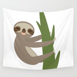 Three-toed sloth on green branch on white background Wall Tapestry