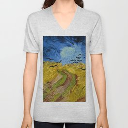 """Vincent van Gogh """"Wheat Field with Crows"""" Unisex V-Neck"""