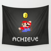 luigi Wall Tapestries featuring Mario by eARTh