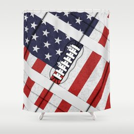 4th of July American Football Fanatic Shower Curtain