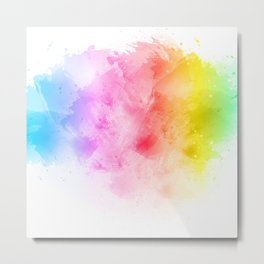 Rainbow abstract artistic watercolor splash background Metal Print