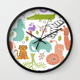 Zoo Pattern in Soft Colors Wall Clock