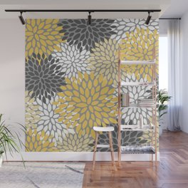 Modern Elegant Chic Floral Pattern, Soft Yellow, Gray, White Wall Mural