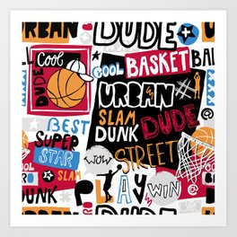 Basketball pattern. Cool dude. Art Print