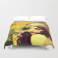 sunflower Duvet Covers featuring SUNFLOWER by Julia Lillard Art
