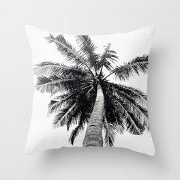 Palm Tree, Black and White, Tree, Tropical, Beach, Nature, Botanical, Monochrome, B&W, Outdoors Throw Pillow