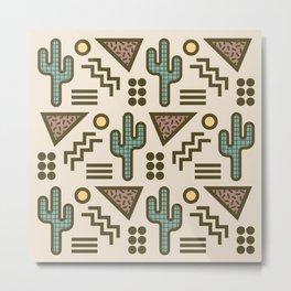 Retro Memphis Style Southwestern Cactus Design 432 Metal Print