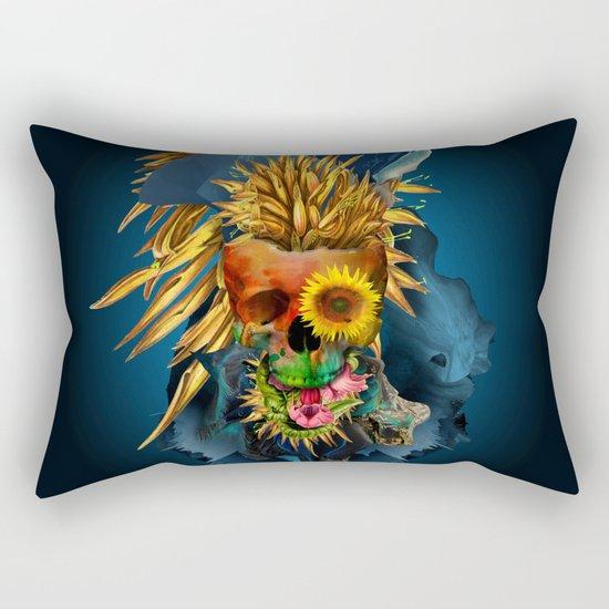 Floral Skull Vivid III Rectangular Pillow