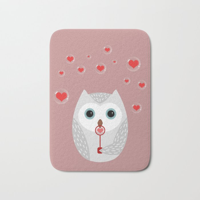 OWL, LOVE & BUBBLES (valentine animals heart) Bath Mat