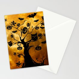 Surreal halloween tree with pumpkins, bats and owls Stationery Cards