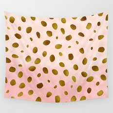 Rose Quartz With Gold Pattern Wall Tapestry
