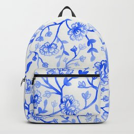 Watercolor Peonies - China Blue Backpack