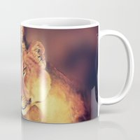 lions Mugs featuring Lions Soulmates by Moody Muse
