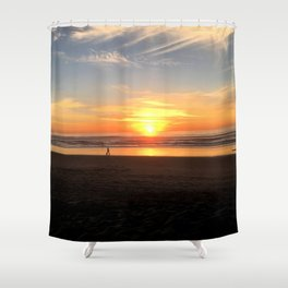 WALKING ON THE BEACH AT SUNSET Shower Curtain