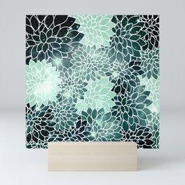 Space Dahlias Spearmint Green Mini Art Print