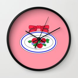 A Vintage Country Platter with a Bow and Roses Wall Clock