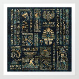 Egyptian hieroglyphs and deities -Abalone and gold Art Print