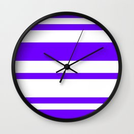 Mixed Horizontal Stripes - White and Indigo Violet Wall Clock