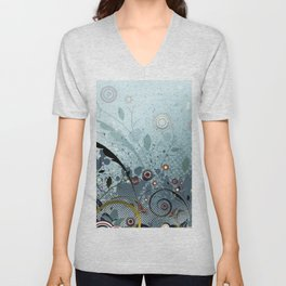 Blue Mystery Forest of Flowers and Tendrils Unisex V-Neck